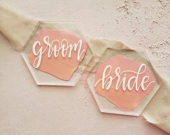 Acrylic Calligraphy Place Cards, Acrylic Hexagon Place Cards, Acrylic Hexagon Wedding Place Cards, Hexagon Blush Wedding Escort Card