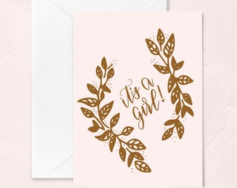 Baby Shower Greeting Card, It's a Girl! New Baby Greeting Card, Baby Girl Card, Congrats on your Baby Card, Welcome Baby Greeting Card