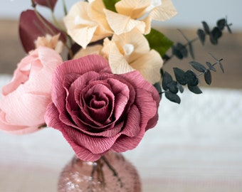 Thanksgiving Centerpiece, Fall Paper Flowers, Crepe paper Flowers, Burgundy and Blush Flowers, Autumn Flowers, Fall Home Decor, Fall Flowers