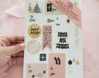 Gift Tag Stickers, Christmas Gift Tags Sticker Sheet, Hygge Blush Christmas Tags, Holiday Stickers, Christmas Cards, Christmas Sticker Sheet