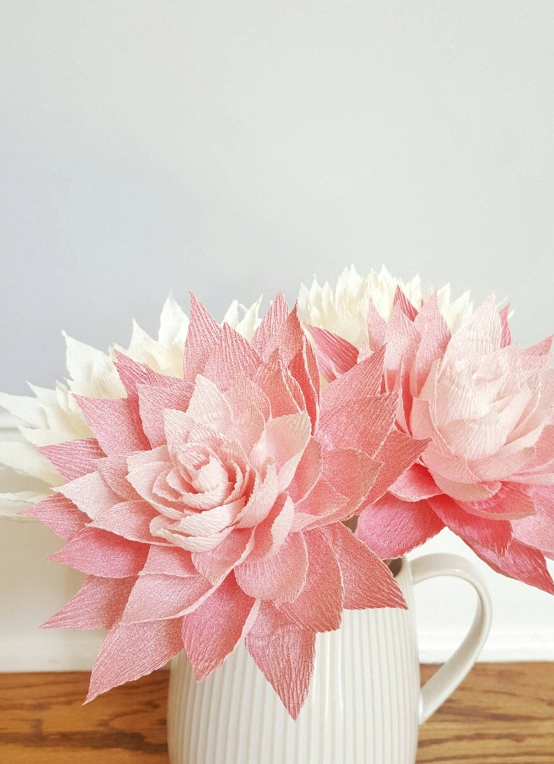 Crepe Paper Flowers Paper Dahlias Pink Paper Flowers First image 0
