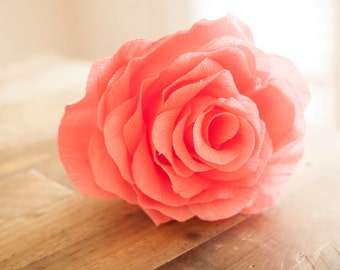 Large Paper Flowers, Paper Flower Bouquet, Giant Paper Flowers, Coral Bridal Bouquet, Coral Paper Flowers, Crepe Paper Flower, Coral Rose