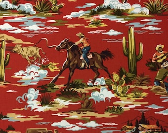 """RIDING COWBOY NAVAJO Red Western Cowboy Horse Toile Pillow Craft Drapery Tote Bags Drapery Upholstery Multiuse Fabric By The Yard 44""""Wide"""