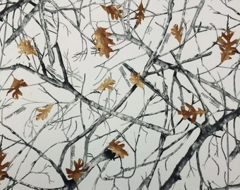 """TRUE TIMBER SNOWFALL White Headliner HL4013 Camoflauge Woods Auto Truck Rv Headliner Crafts 3/16 inch Foam Backing Fabric By Yard 60""""Wide"""