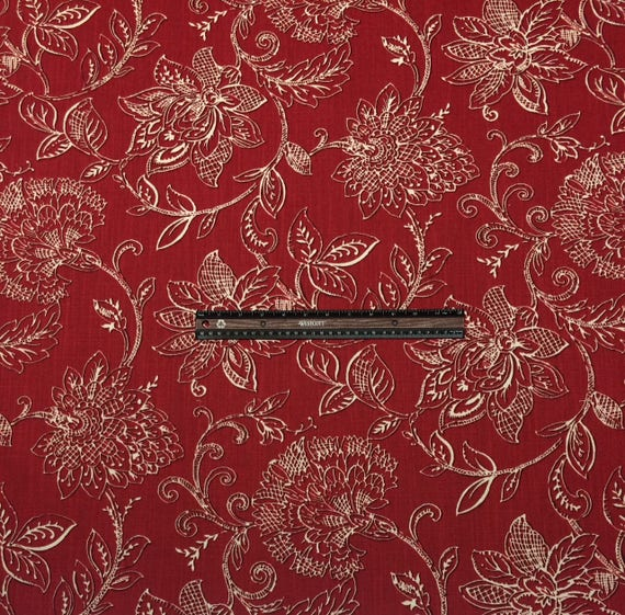 outlet on sale classic cheapest RICHLOOM BENSON CHERRY Red White Jacobean Floral Vine Upholstery Pillow  Craft Cushion Bedding Fabric By The Yard 54