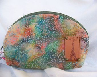 Persimmon Pouch Small in Oranges Blues MADE IN USA Cute little pouch Greens Batik fabric