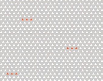Jersey Knit Fabric, Four Corners Fabric, Triangle Fabric, Gray and Orange, Modern Apparel Fabric, Simple Simon & Company, Riley Blake Design