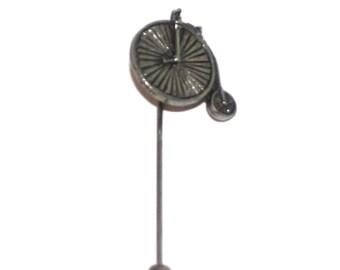 Penny Farthing Bike Lapel Stick Pin, English Pewter, Handmade, cravat, tie, (wa)