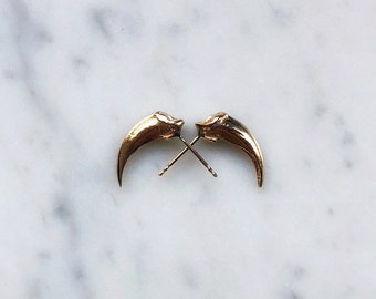 Solid 14k Gold Fox Claw Studs