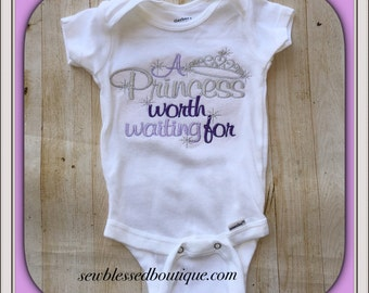 Baby Shower Gift* Princess Worth Waiting For* Princess Tiara* Embroidery* Monogram* Coming Home Outfit* Embroidery Onesie* Gifts for her*