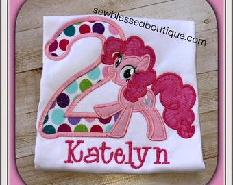 First Birthday* Gifts for her* MLP* Pinky Pony* Sparkle* Glitter* Rainbow Dash* Ponies* Pony Party* Pony Birthday* Birthday* Embroidery