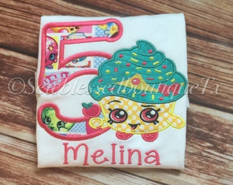 Girl Birthday Shirt* Shopkin Birthday* Cupcake* Lippy Lips* Cupcake  Queen* Monogram* Gifts for her* Birthday Shirt* Embroidery* Applique