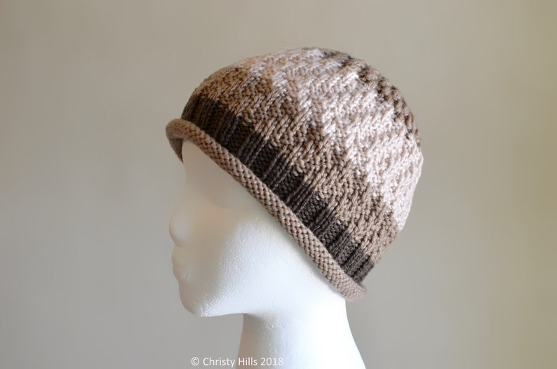 fc90c47587f Brownie Hat Knit and Purl Rolled Up Brim Hat Knitting