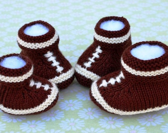 Knitting Pattern Only - Football Baby Booties