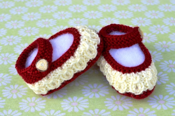 Knitting Pattern Only Mock Cables Mary Jane Baby Booties Etsy