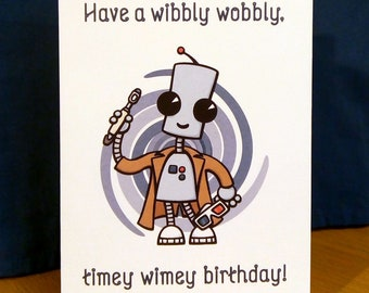 Ned the Robot - 10th Doctor Birthday Card