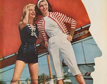 1957 Jantzen Sunclothes ad, great retro nautical look.