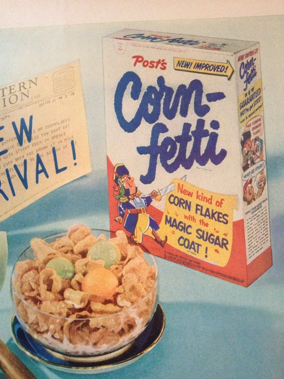 Vintage 1953 Post Corn-Fetti Cereal Ad Paper Ephemera from a   Etsy