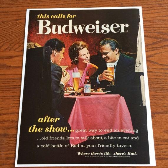 1962 Budweiser Christmas Advertisement Life Magazine liquor ad retro poster buy