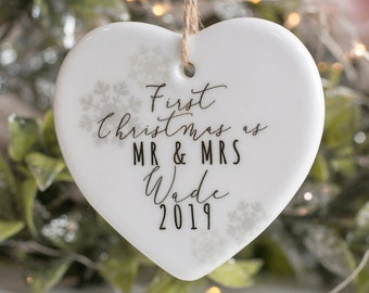 First Christmas as Mr and Mrs Heart Christmas Ornament | First Christmas Decoration | Wedding Gift, First Christmas Bauble, comes Gift Boxed