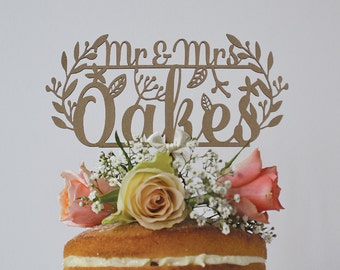 Rustic Wedding Cake Topper | Mr and Mrs Cake Topper | Woodland Cake Topper | Custom Cake Topper | Personalised Mr And Mrs