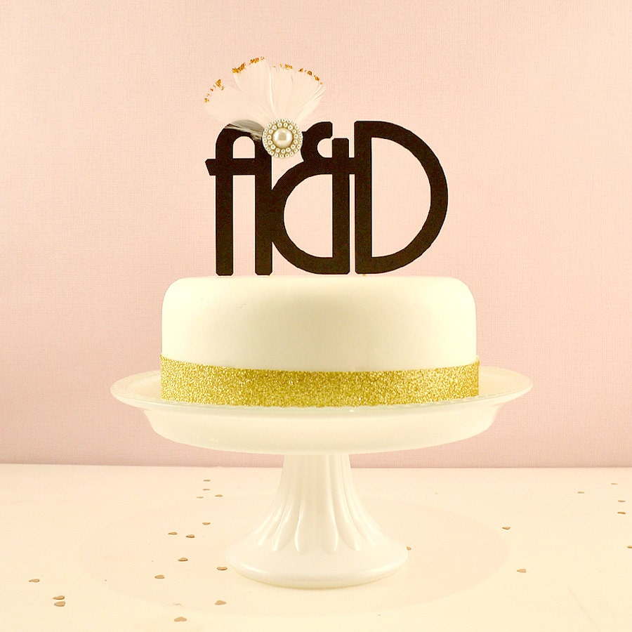 Art Deco Wedding Cake Topper | Monogram Cake Topper | Customised ...