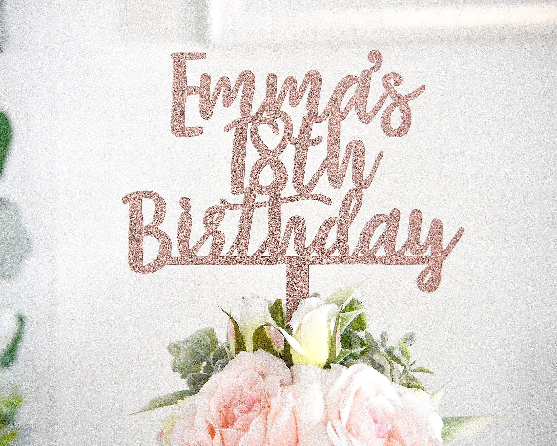18th Birthday Cake Topper Rose Gold
