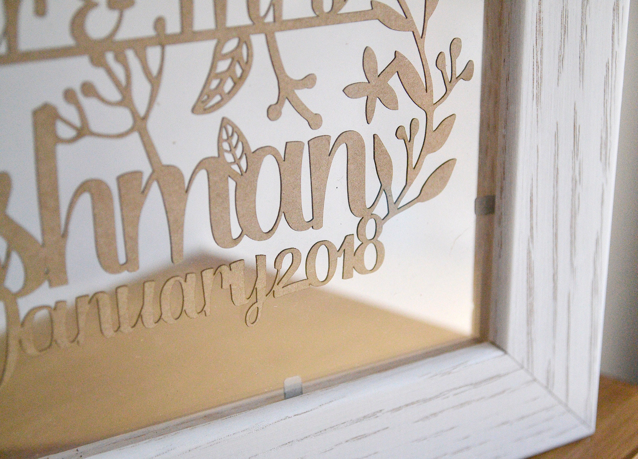 1st Wedding Anniversary Paper Gift Lasercut Rustic Wedding Gift
