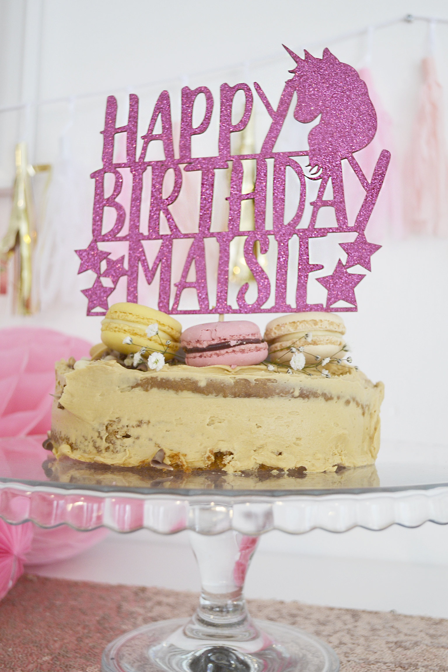 Unicorn Cake Topper Personalised Glitter Birthday