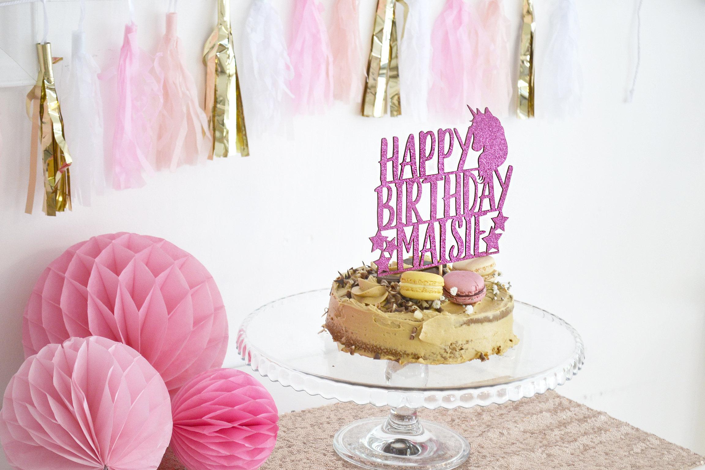 Unicorn Cake Topper Personalised Glitter Birthday Cake Topper