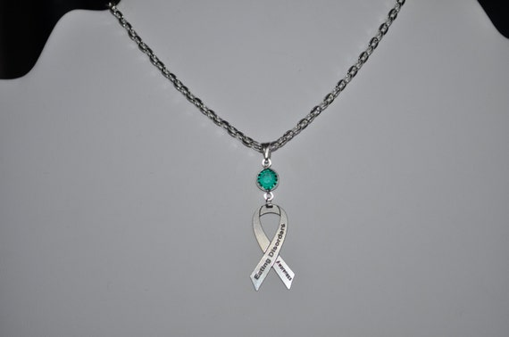 Eating Disorder Awareness Necklace Pick Your Color Crystal Etsy