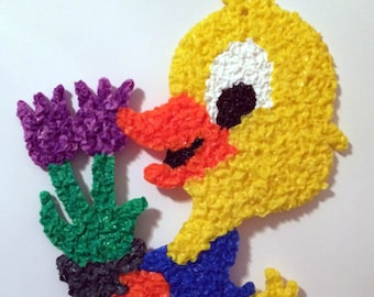 Vintage Melted Plastic Popcorn Duck with Tulips Easter Decoration by Kage