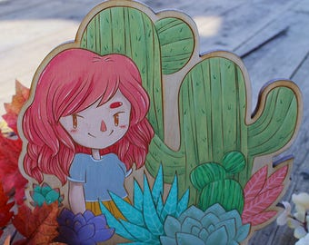 Hand Painted Perpetual Calendar - Cactus Babe