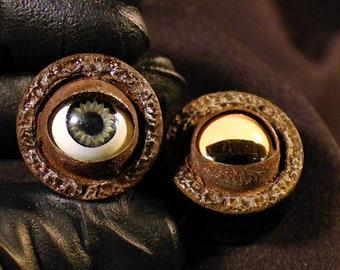 "Blinky Doll Eye Plugs 7/8"" Ebony Wood"
