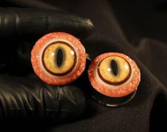 """Fox Eye Plugs 1 1/8"""" Stainless Steel"""