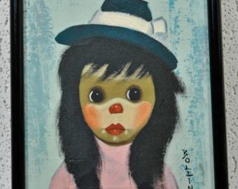 Original Bollini Painting - Big Eyed Girl