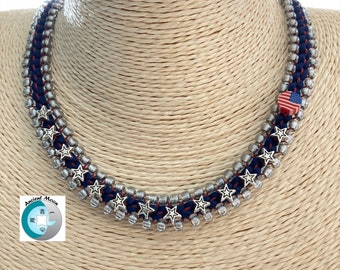 Kit-Beaded Kumihimo Happy 4th of July Necklace