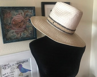 f348cb7a Vintage Wide brim white rancher straw hat with woven band