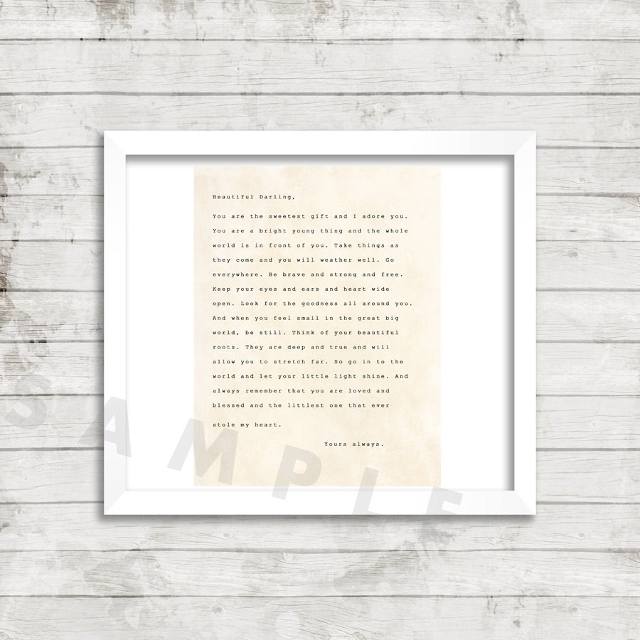 Digital Download Art poem Letter to your Daughter Baby Gift Nursery High Res
