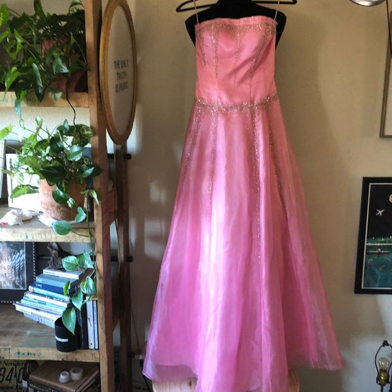 Vintage Pink strapless beaded princess maxi gown p
