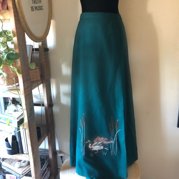Vintage green high waisted wrap maxi skirt with bi