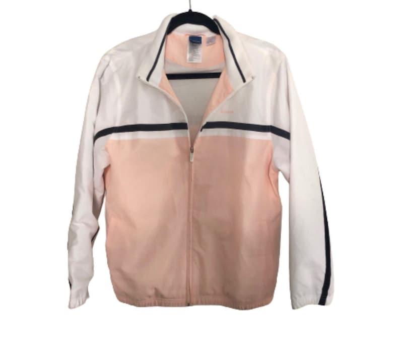 Vintage Retro Pastel Reebox Zip Up Tracker Racer Stripe Pink White Track Bomber Jacket Sz Large