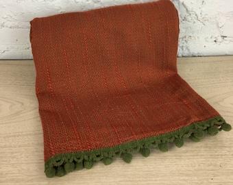 Green Pom Pom Trim Tablecloth