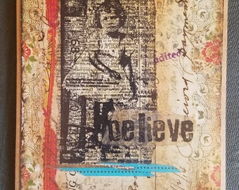 Believe in the power of you mixed media art card