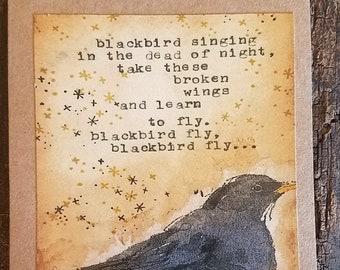 Blackbird singing in the dead of night art card
