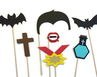 Halloween Photo Booth Props - 7 Piece Photo Booth Prop Set - Dracula Photo Booth- Halloween Photo Booth with Glitter