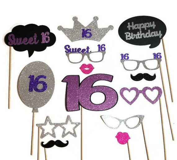 Sweet 16 Photo Booth Props 14pc Photo Booth Props With Etsy
