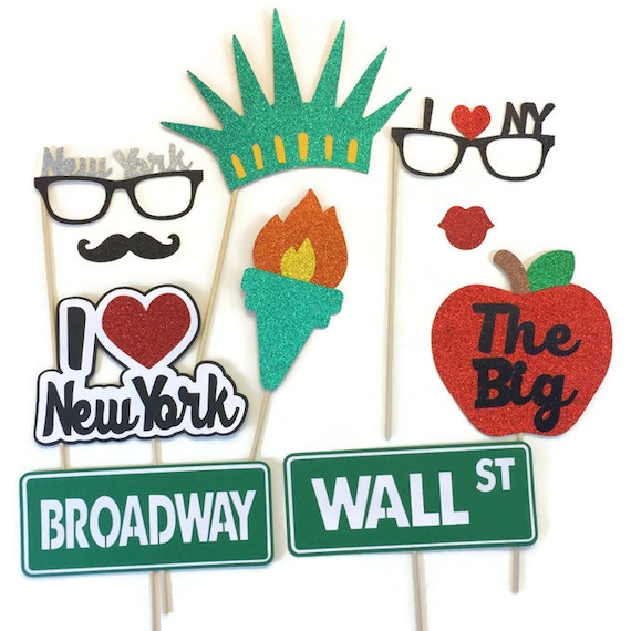 Photo Booth Props New York Props With Glitter Photo Booth Etsy