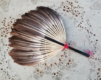 Chinese Pien Mien Turkey Feather Face Cover Fan