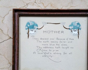 Antique Framed Motto for Mother P. F. Volland & Company 1915